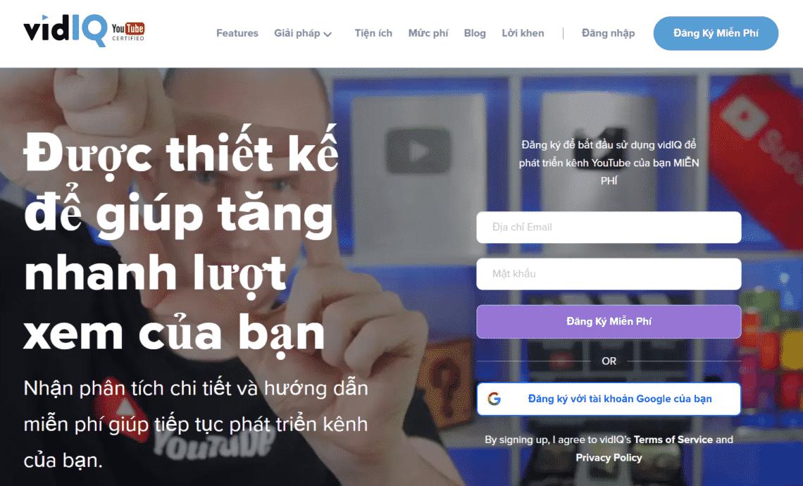 Đăng ký tài khoản VidIQ để truy cập các tính năng miễn phí