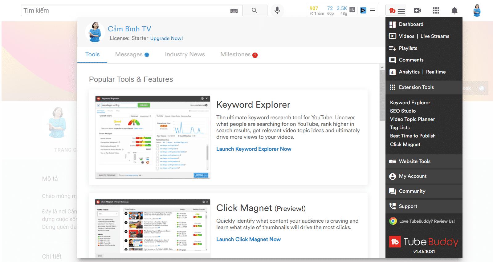 Tubebuddy - công cụ giúp phát triển kênh Youtube thần tốc