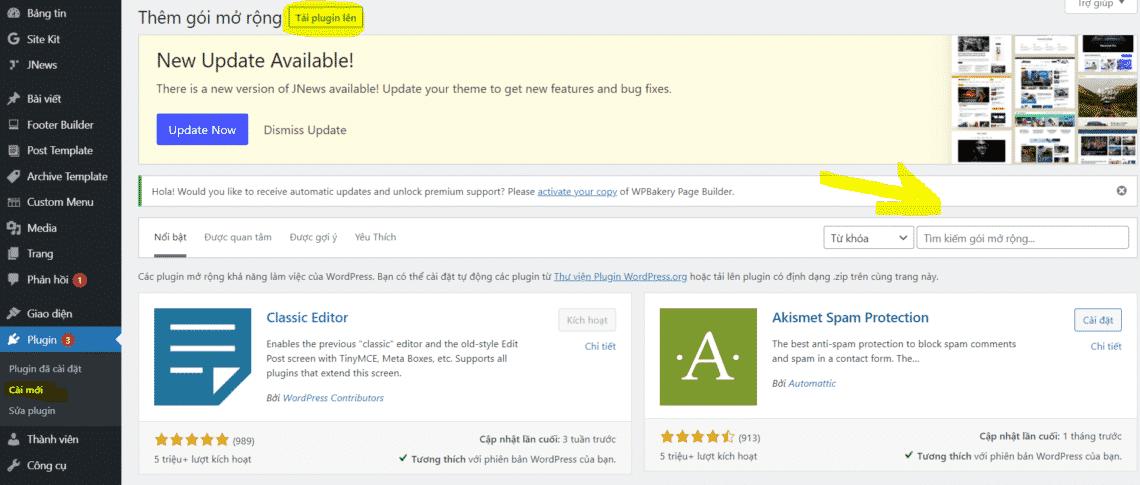bổ sung các plugin cần thiết cho website