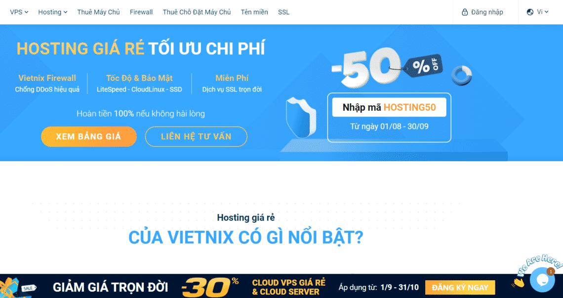 Hosting Vietnix - Hosting chất lượng cao giá rẻ nhất thị trường